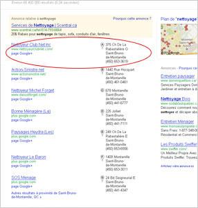 Positionnement Google Adresses