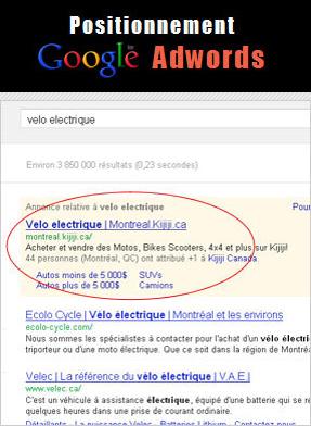 Positionnement Google Adwords